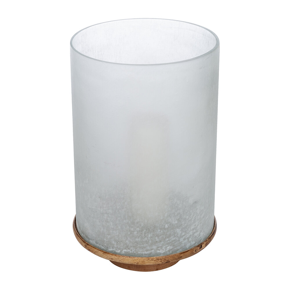 Retreat - Buried Glass Hurricane with Wooden Base - Large
