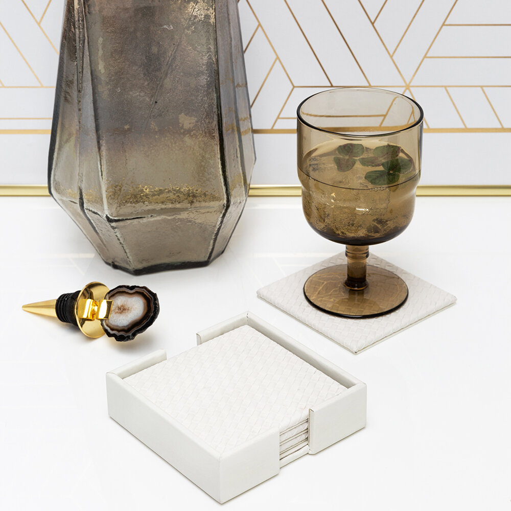 Luxe - Woven Square Coaster - Set of 4 - Ivory