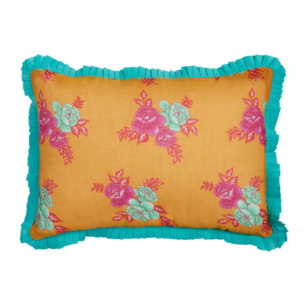 Lisa Corti - Flower Bunches Cushion - Mustard/Turquoise
