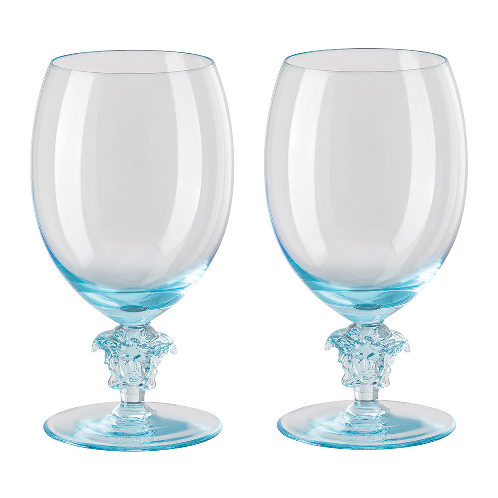 Versace Home - Medusa Lumiere 2nd Edition White Wine Glasses - Set of 2 - Teal