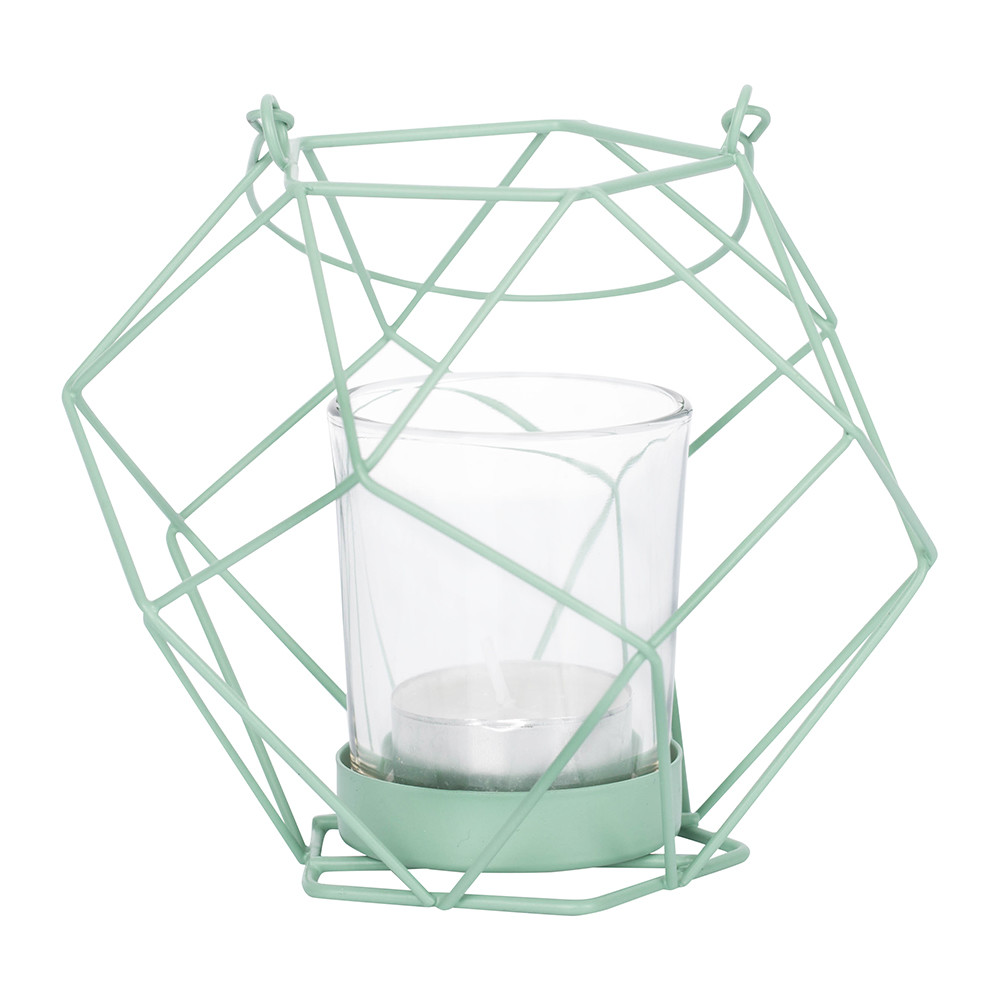 Bloomingville - Metal Votive with Glass Insert - 6.8/12.5x12cm - Moss Green