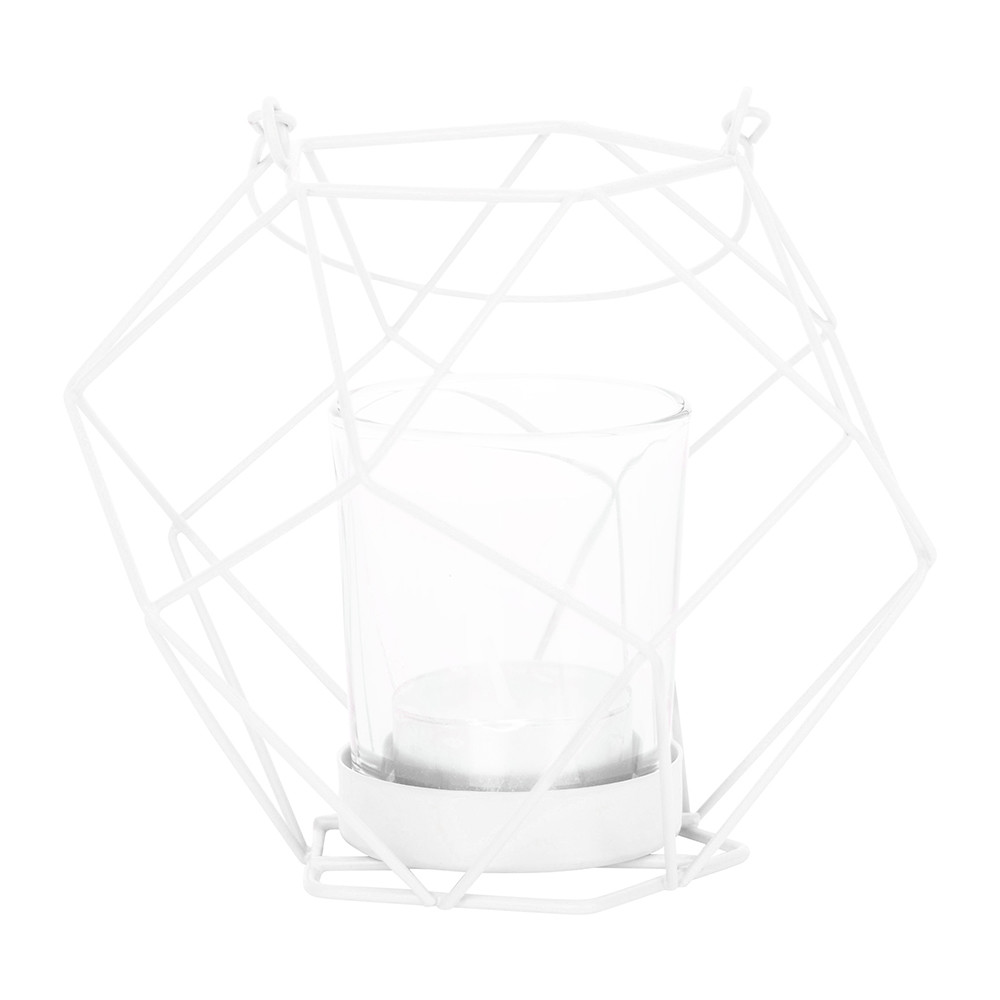 Bloomingville - Metal Votive with Glass Insert - 6.8/12.5x12cm - White