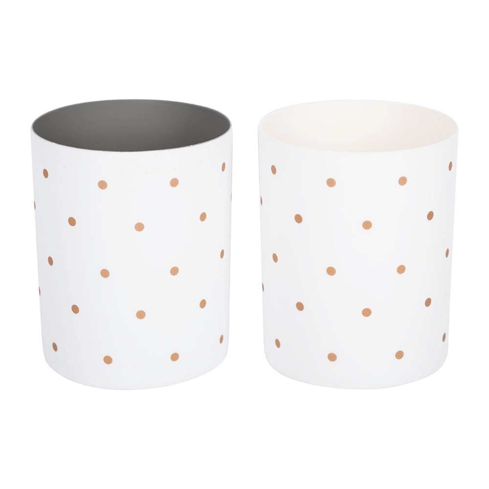 Bloomingville - Set of 2 Votives - White with Bronze