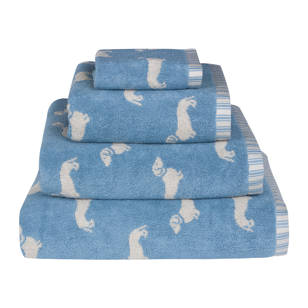 Emily Bond - Blue Dachshund Jacquard Towel - Bath Towel