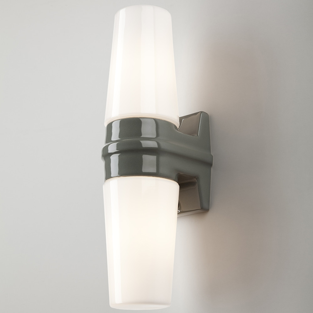 Grey Glass Wall Lights : Buy Old School Electric Bernadotte Double Wall Light - Grey Amara