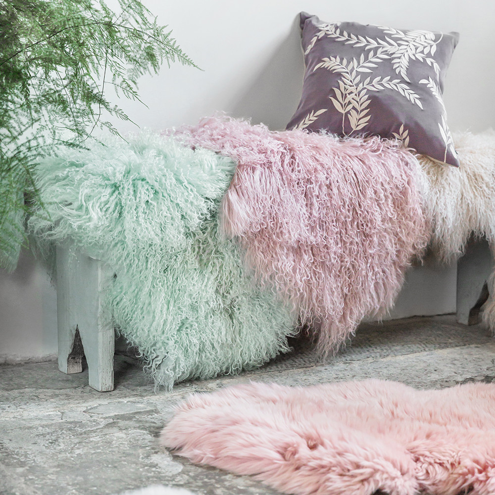 A by Amara - Lewes Sheepskin Rug - Mint