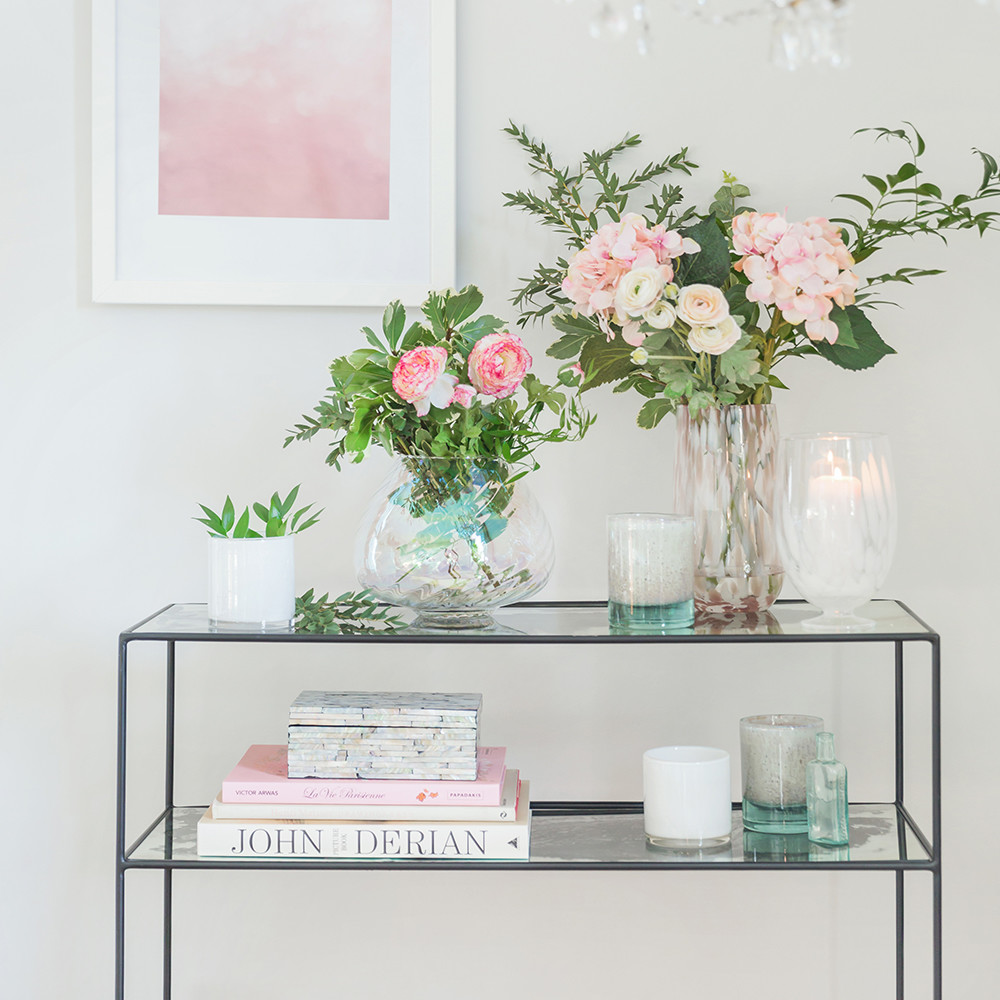 Glass console table with shelf - Previous