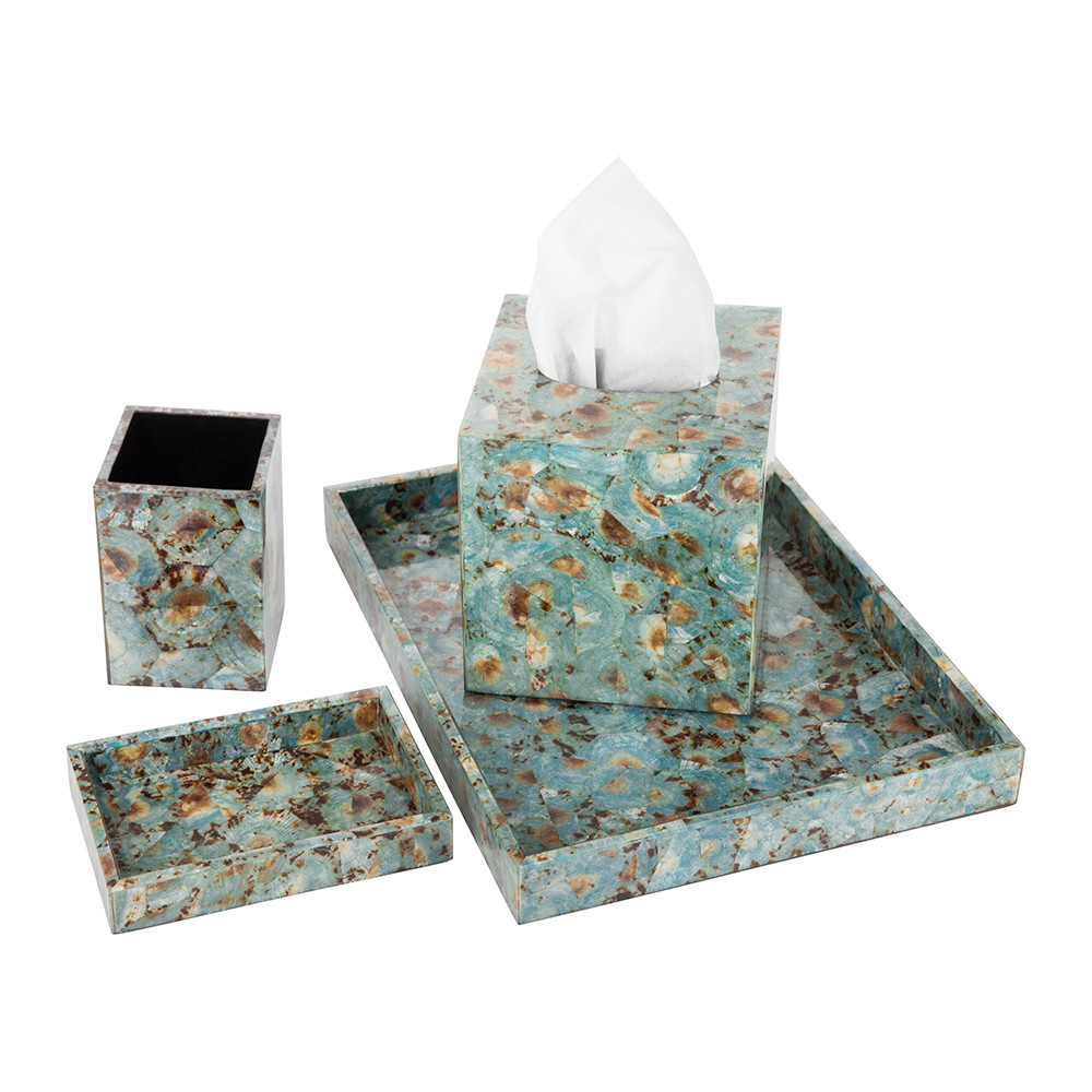 Pigeon & Poodle - Sitges Tissue Box - Blue Shell