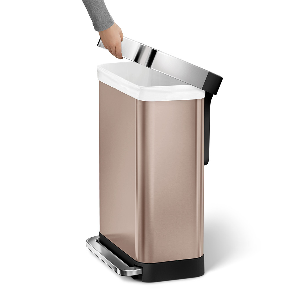 buy simplehuman classic rectangular rose gold pedal bin. Black Bedroom Furniture Sets. Home Design Ideas