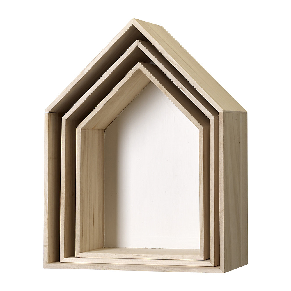 Bloomingville - White Wooden Display Houses - Set of 3