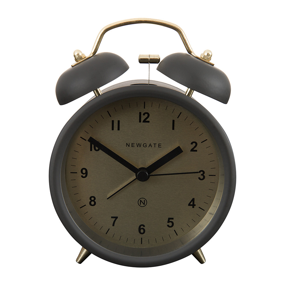 Newgate Clocks - Charlie Bell Alarm Clock - Matt Gravity Grey