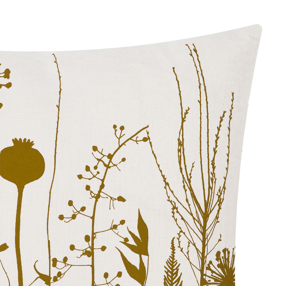 Clarissa Hulse - Seed Heads Pillow - 45x45cm - White/Mustard