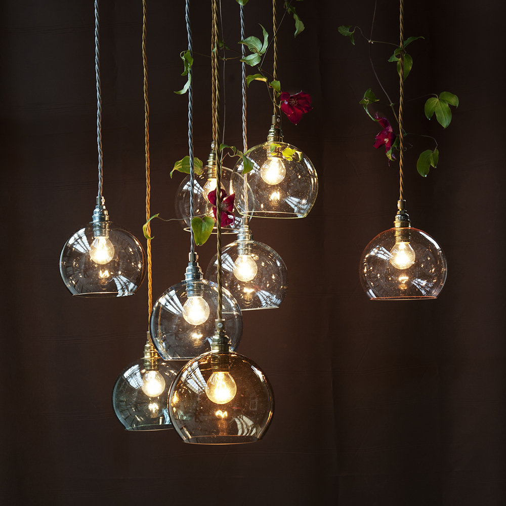 Ebb & Flow - Rowan Pendant Lamp - Clear with Brass - 22cm