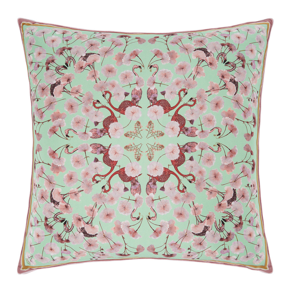Silken Favours - Flamingo Floral Cushion - 55x55cm