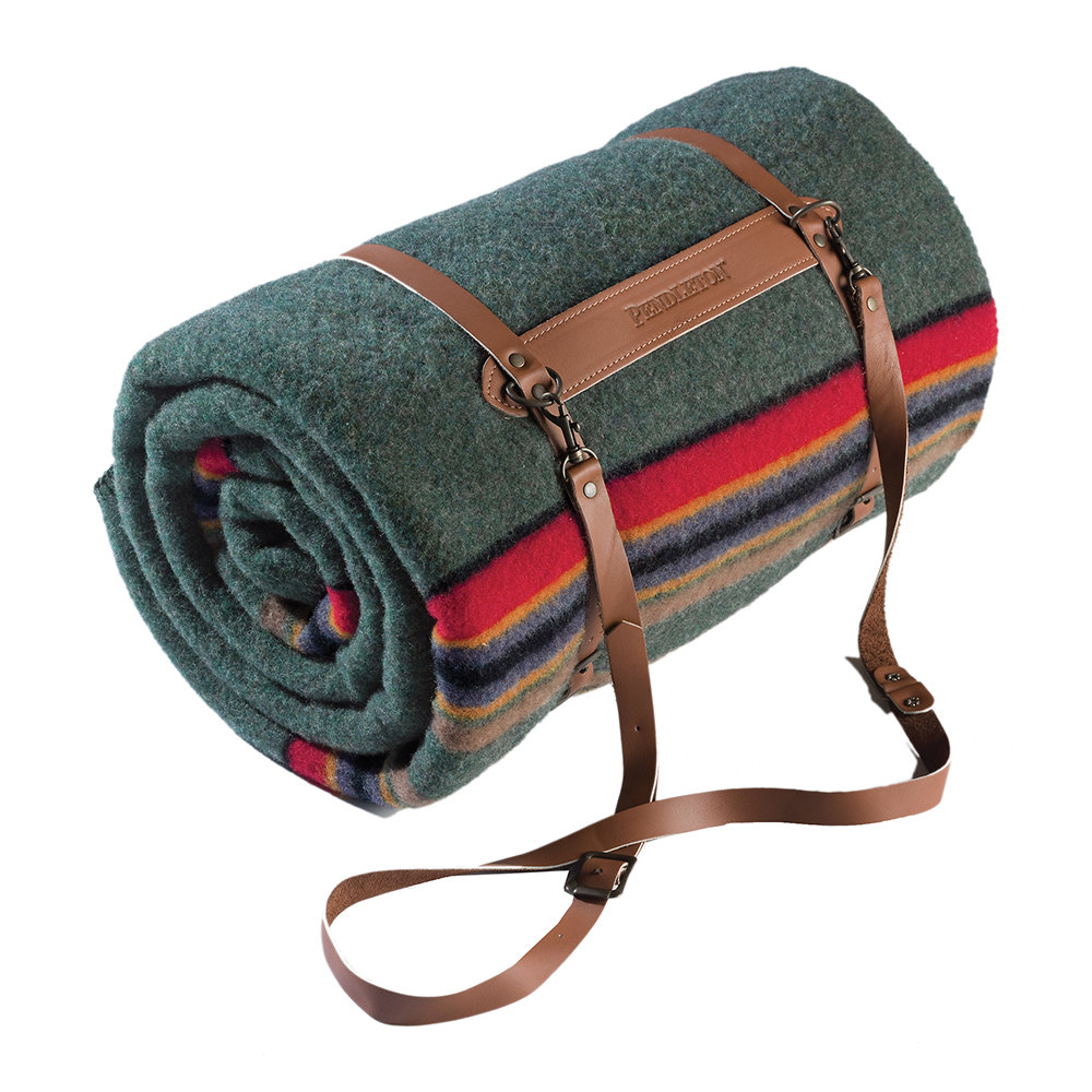 Pendleton - Twin Camp Blanket with Carrier - Green Heather