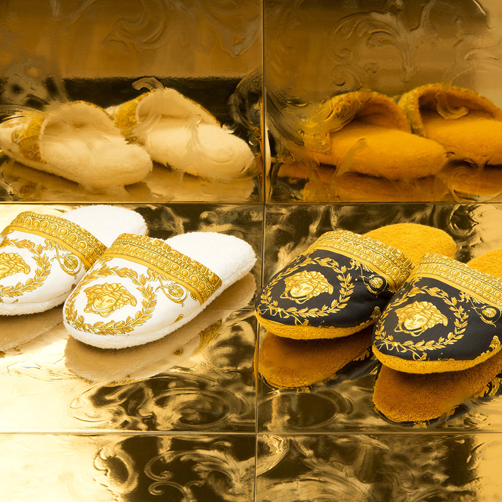 Versace Home - Barocco&Robe Slippers - White/Gold