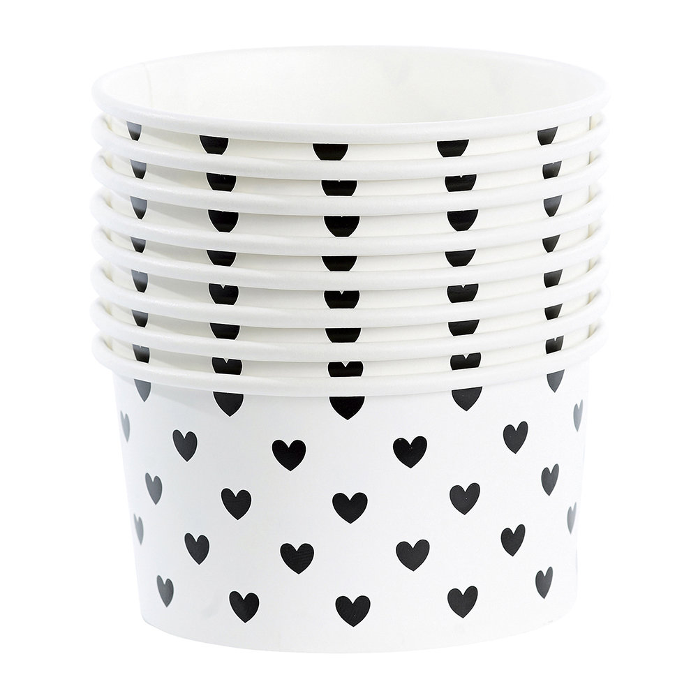 Miss Étoile - Ice Cream Cups With Spoons - Black Hearts