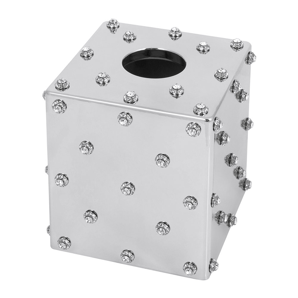 Mike + Ally - Nova Jewelled Glass Tissue Box - Silver