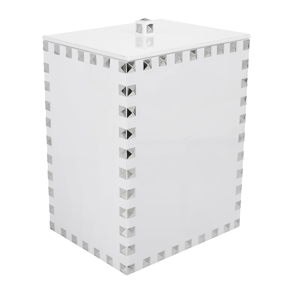 Mike + Ally - Magnus Waste Basket - White  Silver