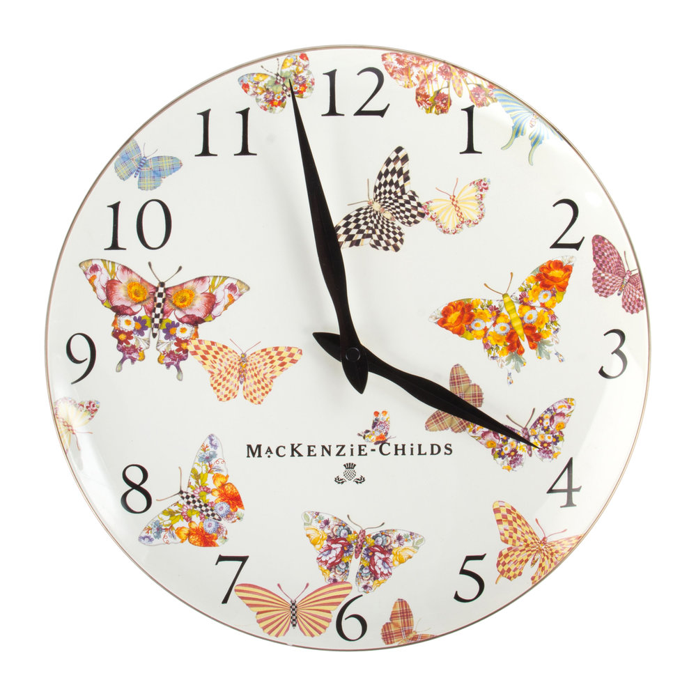 Buy MacKenzieChilds Butterfly Garden Clock White Amara
