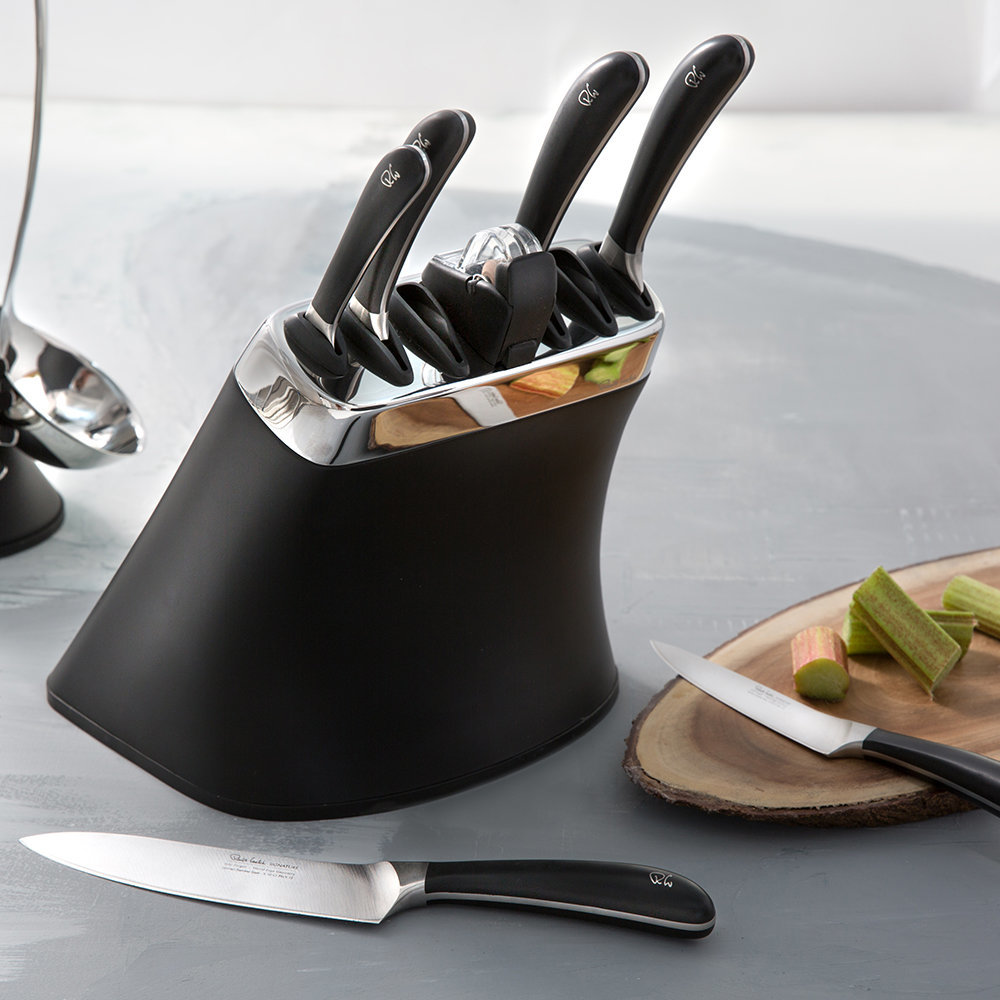 buy robert welch signature black knife block with 6 knives sharpener amara. Black Bedroom Furniture Sets. Home Design Ideas