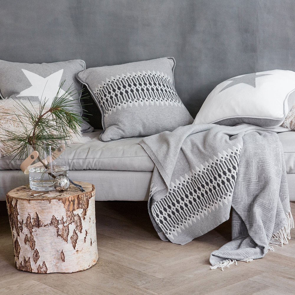 Grey wool Nordic blanket and pillows from Gant - Hello Lovely Studio