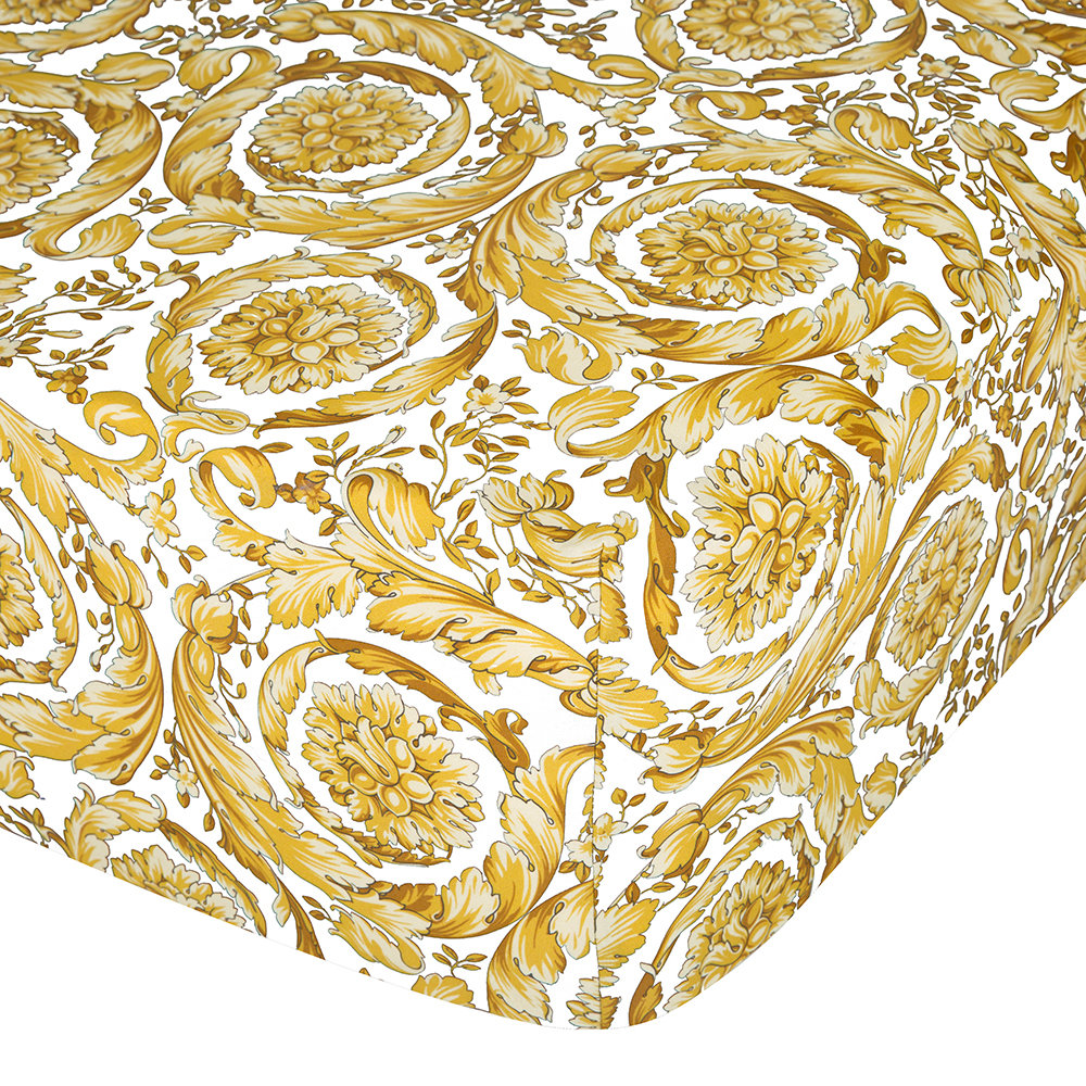 Versace  Barocco 14 Fitted Sheet  200x205cm  White/Gold