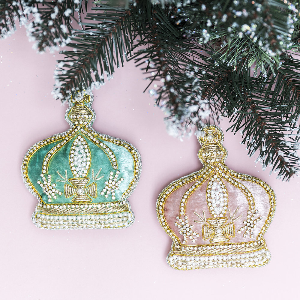 Buy tinker tailor pearl crown tree decoration pink amara for Christmas crown decoration