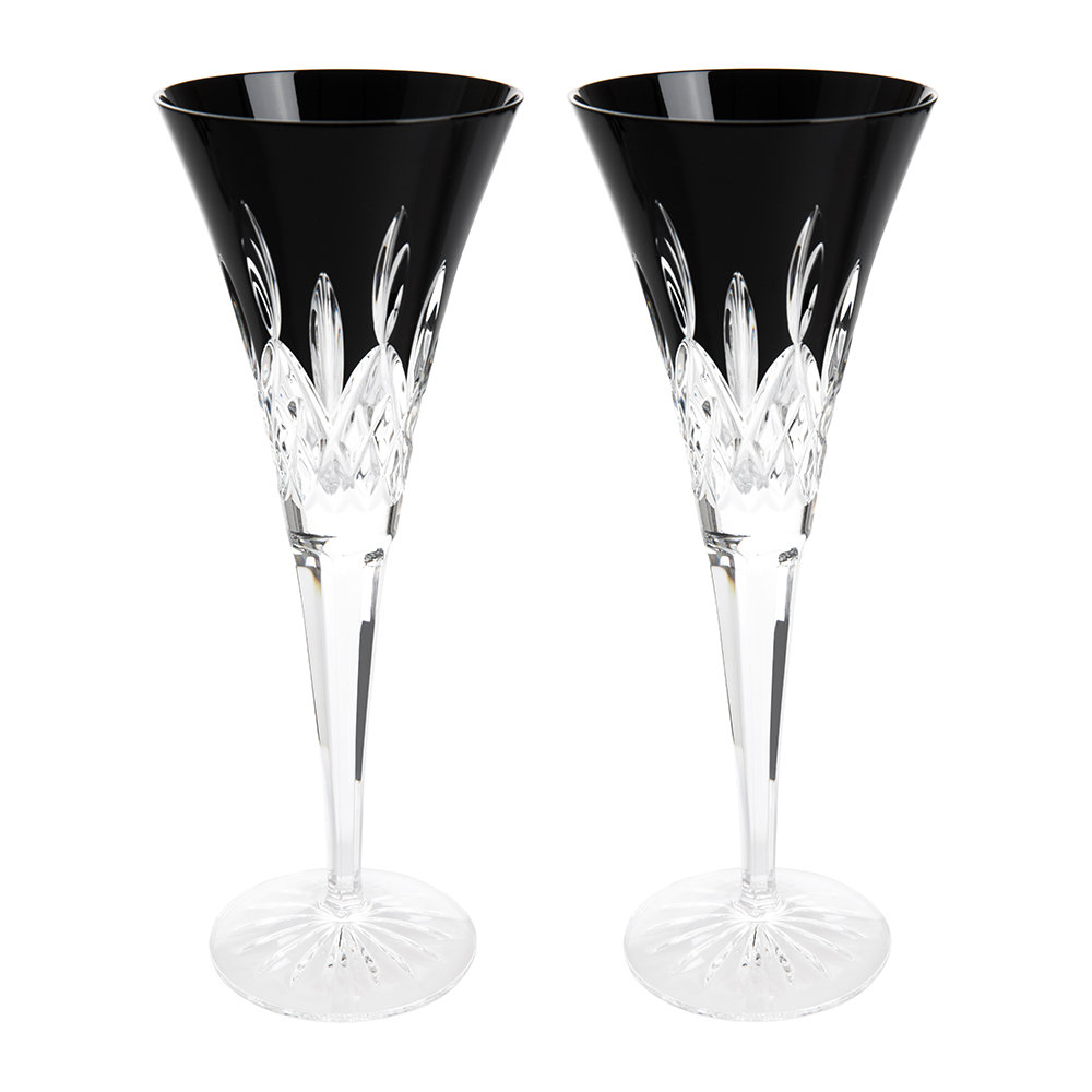 buy waterford lismore black champagne flute set of 2 amara. Black Bedroom Furniture Sets. Home Design Ideas