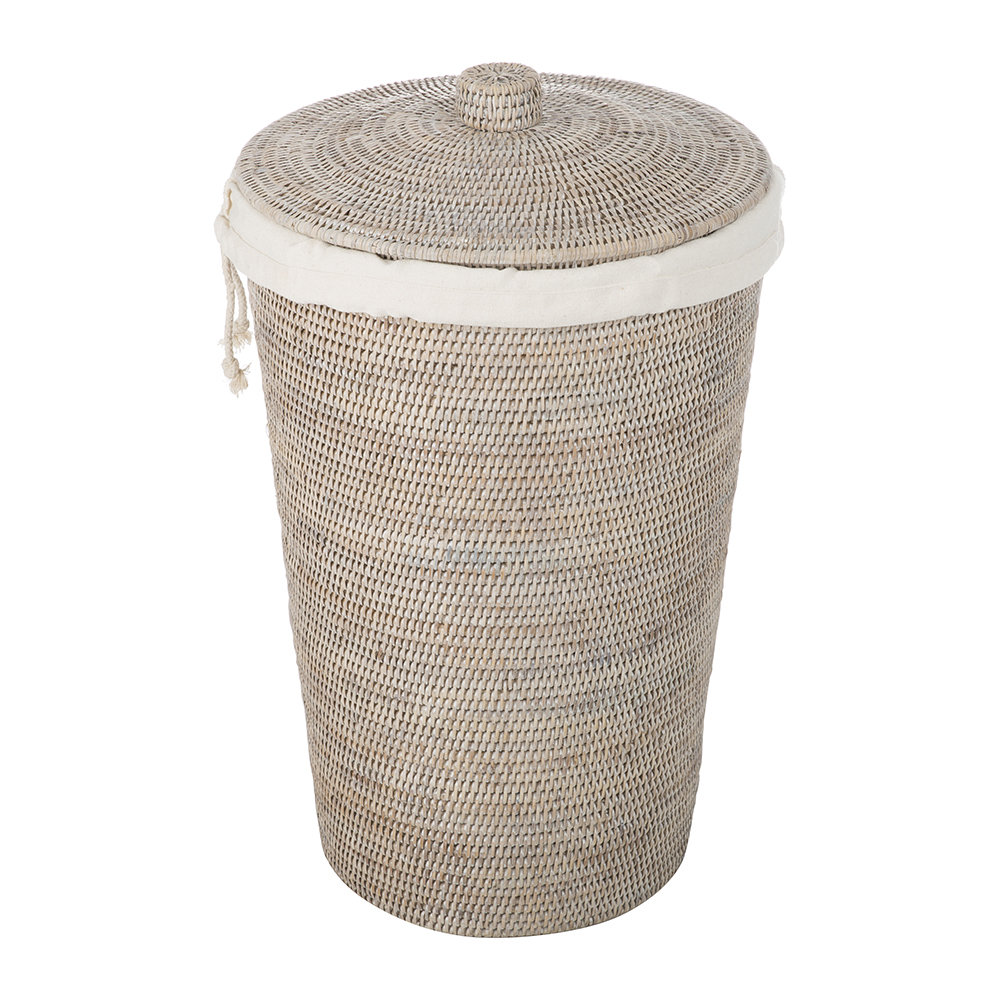 Decor Walther - Basket WB Laundry Basket - Round with Cloth Bag - Light Rattan