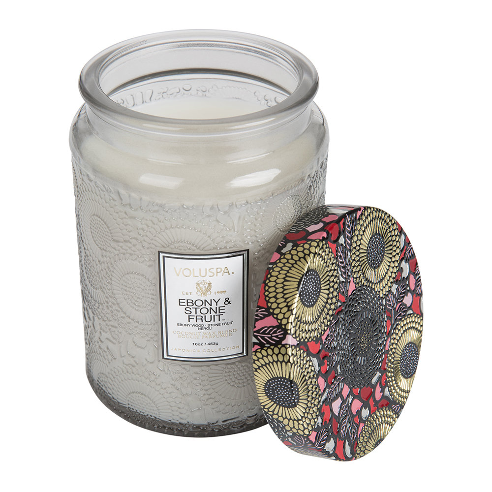Voluspa - Japonica Large Glass Candle - Ebony  Stone Fruit