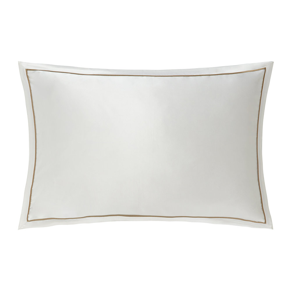 Gingerlily  Boston Silk Pillowcase  White/Sand  50x75cm