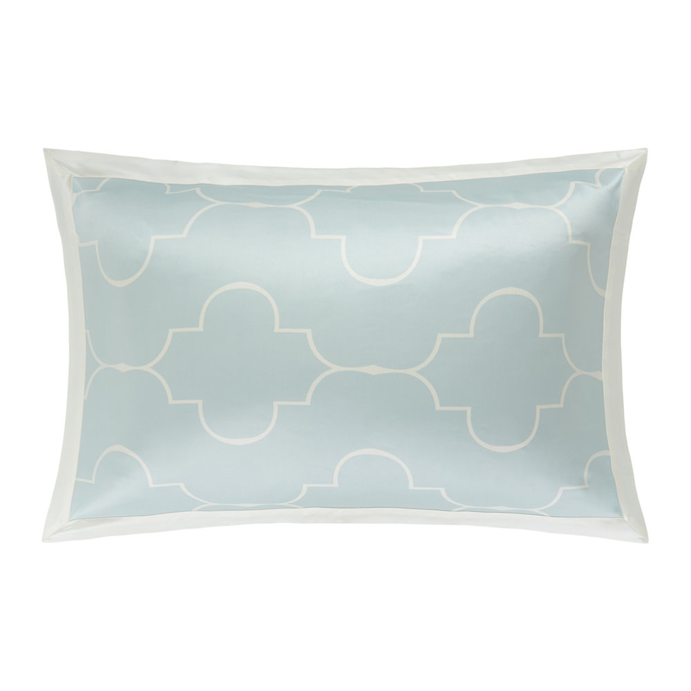 Gingerlily  Casablanca Silk Pillowcase  Ivory/Ice Blue  50x75cm