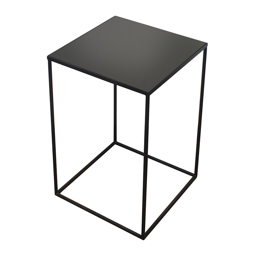 Buy Black Glass And Black Metal Square Side Table From: Buy Notre Monde Large Charcoal Mirror Square Side Table