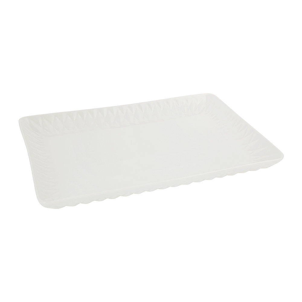 Villari - Black Tie Rectangular Tray - White