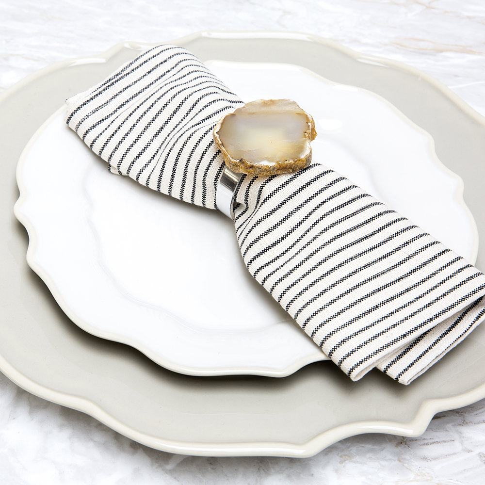 Luxe - Natural Agate Napkins Rings - Set of 4
