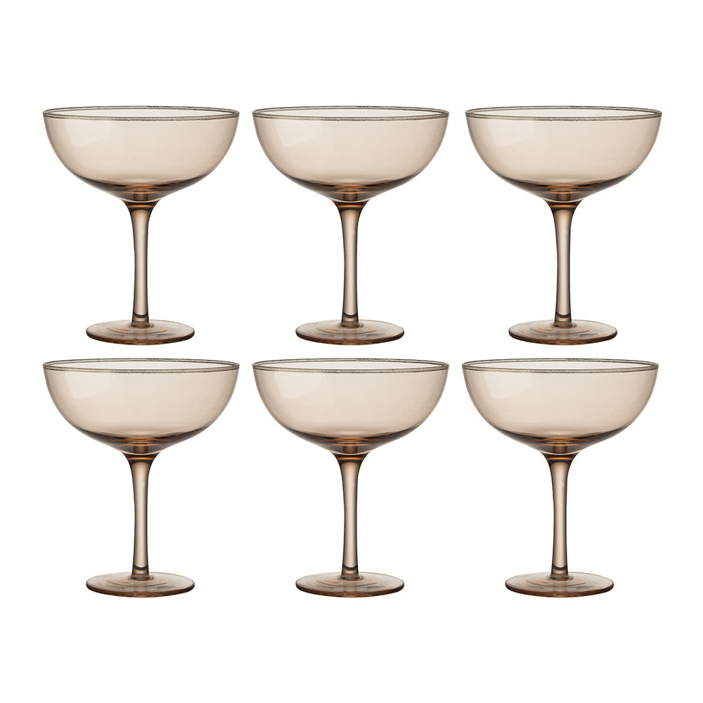Bitossi Home - Deco Gold Rim Champagne Coupes - Set of 6 - Powder