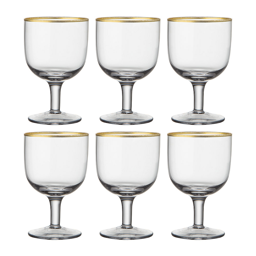 Bitossi Home - Gold Rim Water Glasses - Set of 6 - Clear