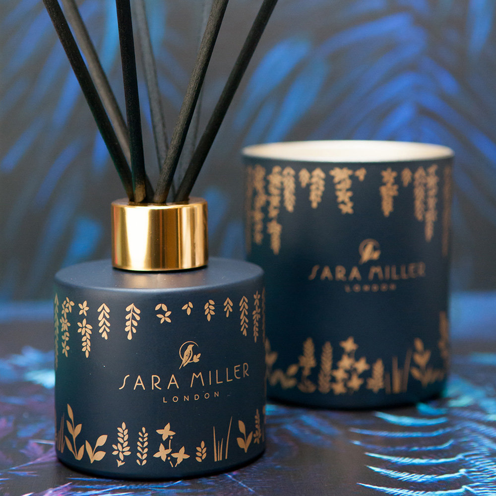 Sara Miller - Printed Glass Soy Wax Candle - 240g - Fig, Vanilla & Cacao