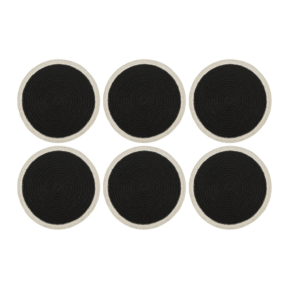 The Braided Rug Company - Rope Round Placemats - Set of 6 - Black/White