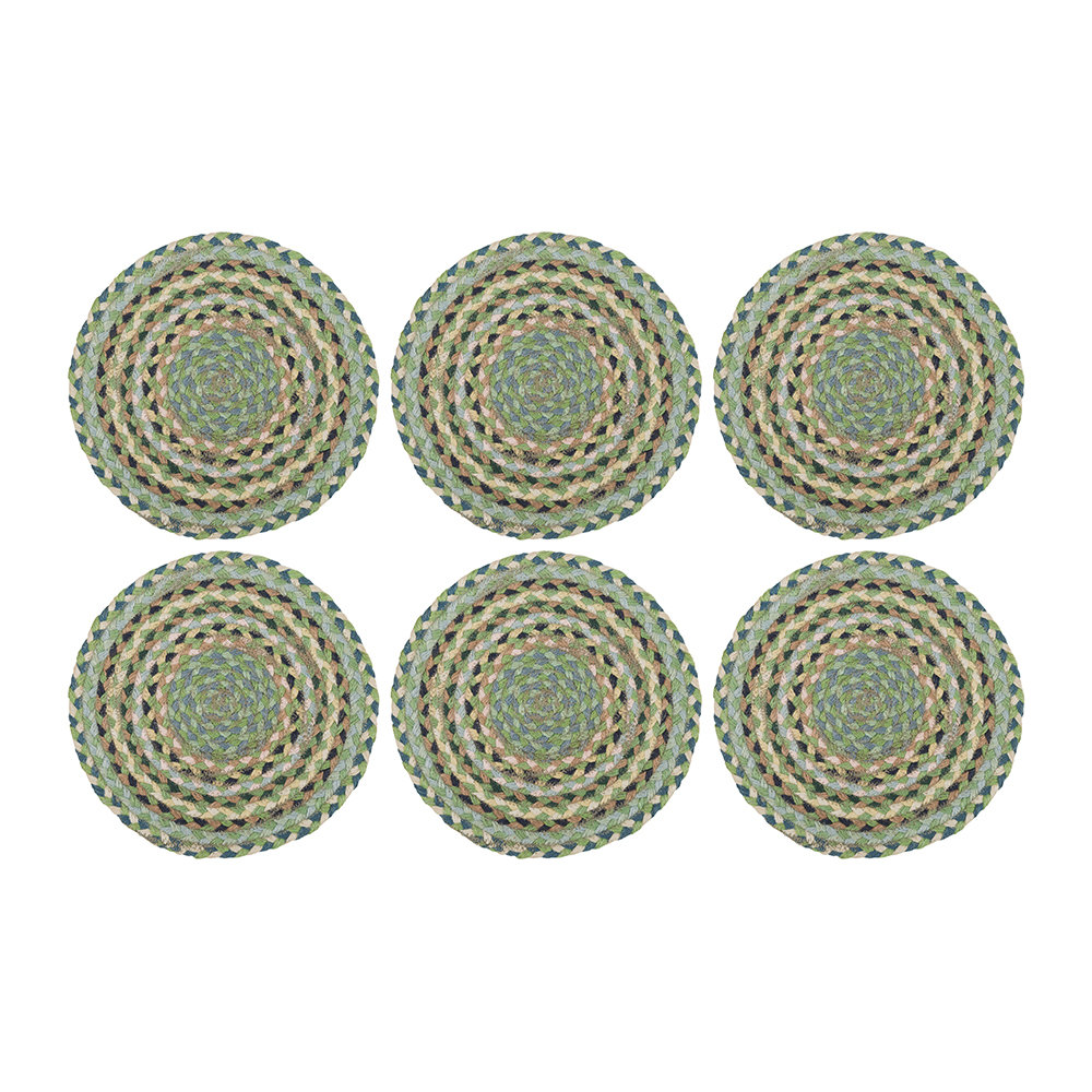 The Braided Rug Company Rope Round Placemats Set Of 6 Mint Amara