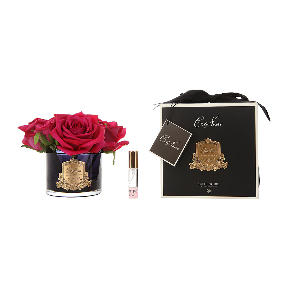 Côte Noire - Roses in Black Glass with Giftbox - Carmine Red