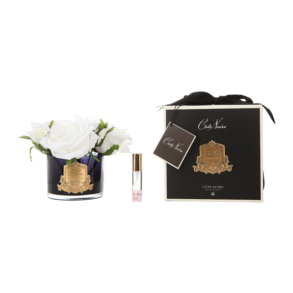Côte Noire - Roses in Black Glass with Giftbox - Ivory