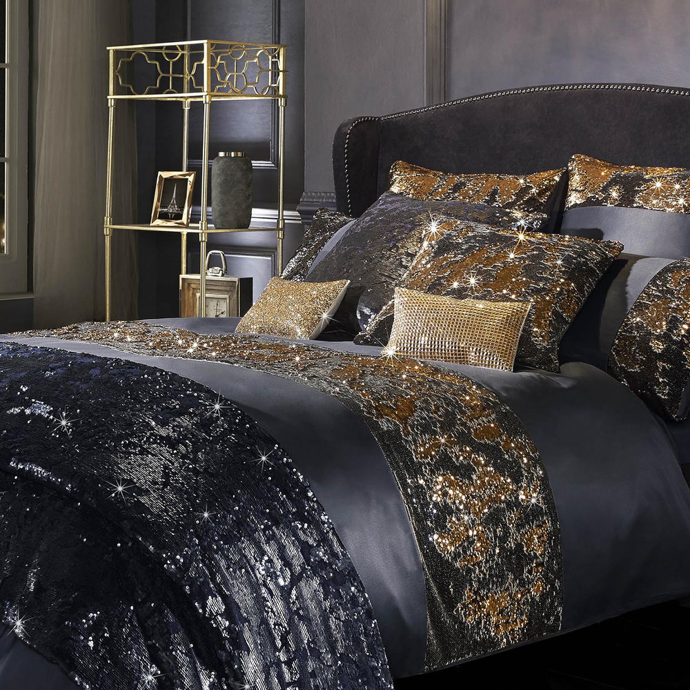 Kylie Minogue Designers Bedding ZITA Petrol Black Matching Accessories Available
