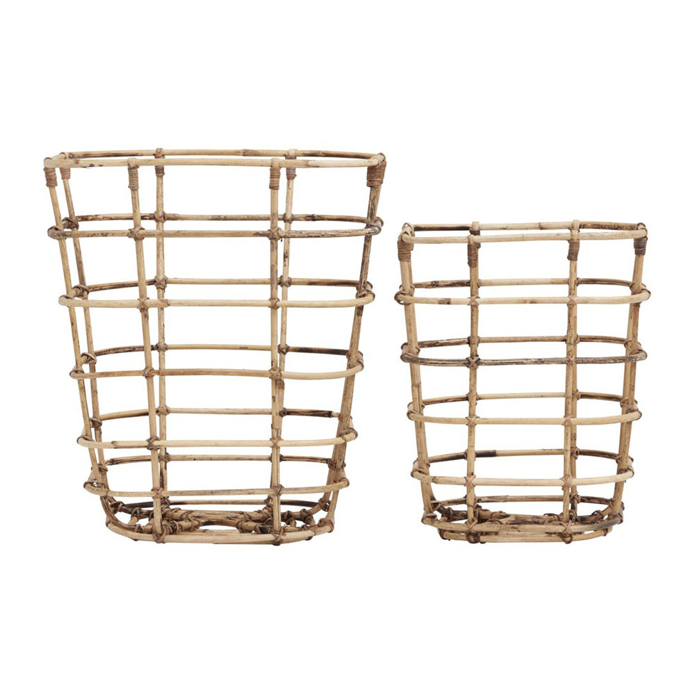 House Doctor House Doctor – Open Square Baskets – Set of 2 – Rattan