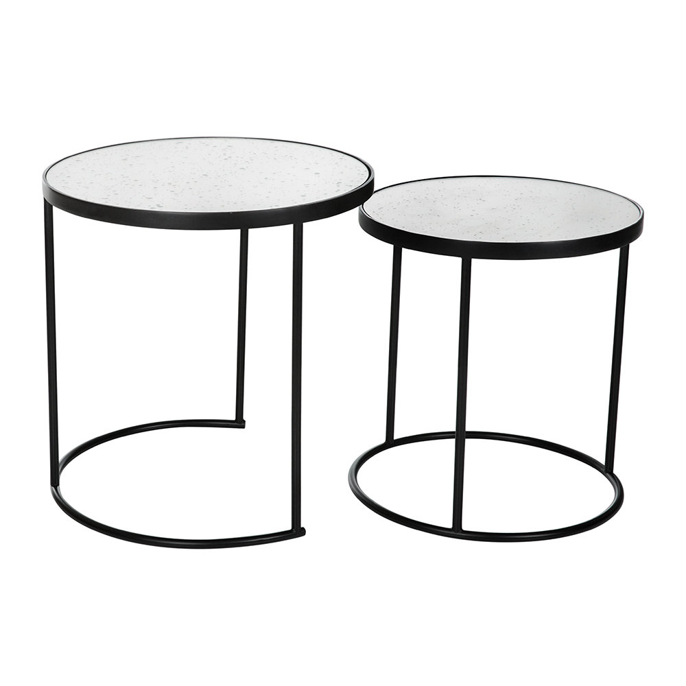 A by AMARA - Round Table with Glass Top - Set of 2