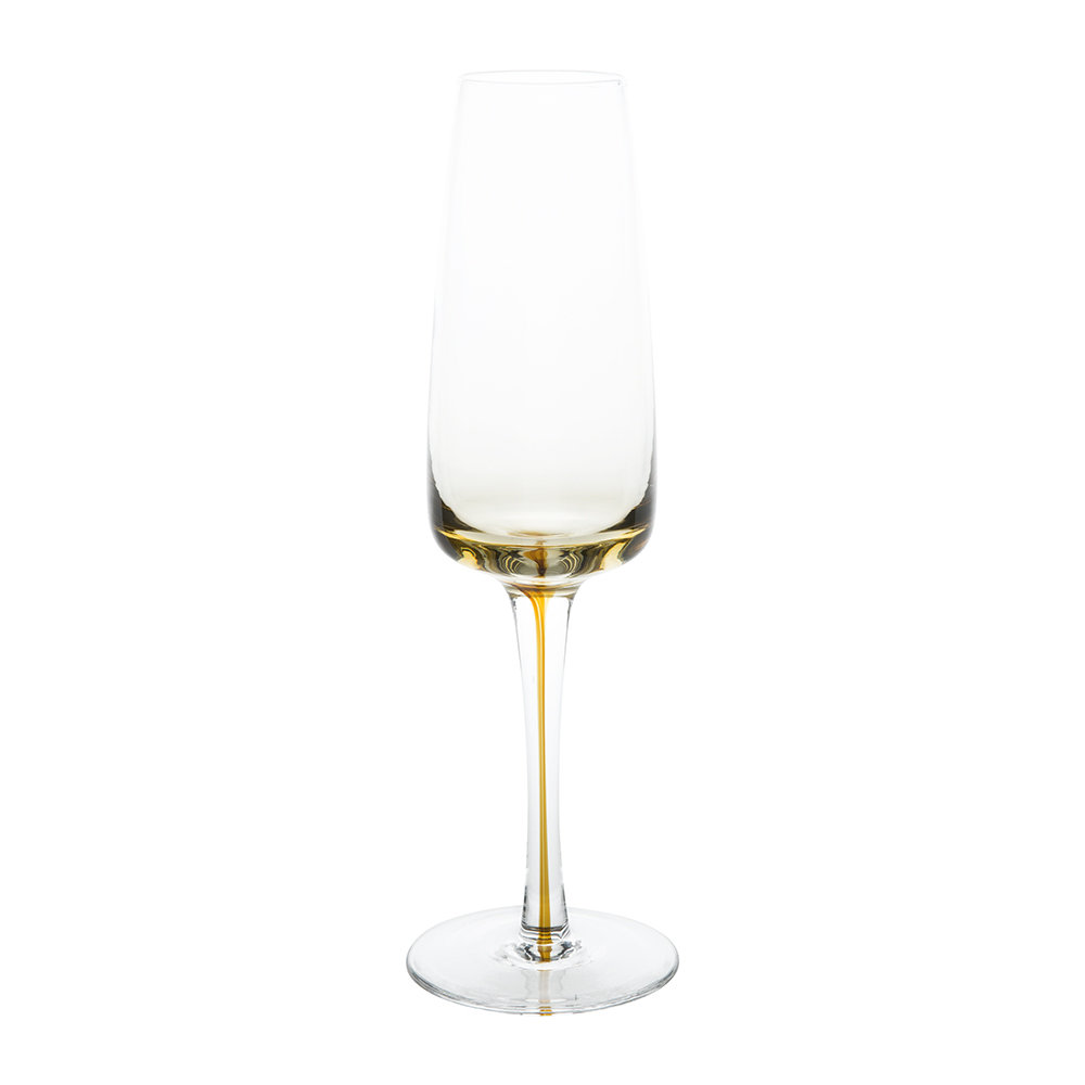 Broste Copenhagen - Amber Mouth Blown Champagne Glass - Clear/Caramel