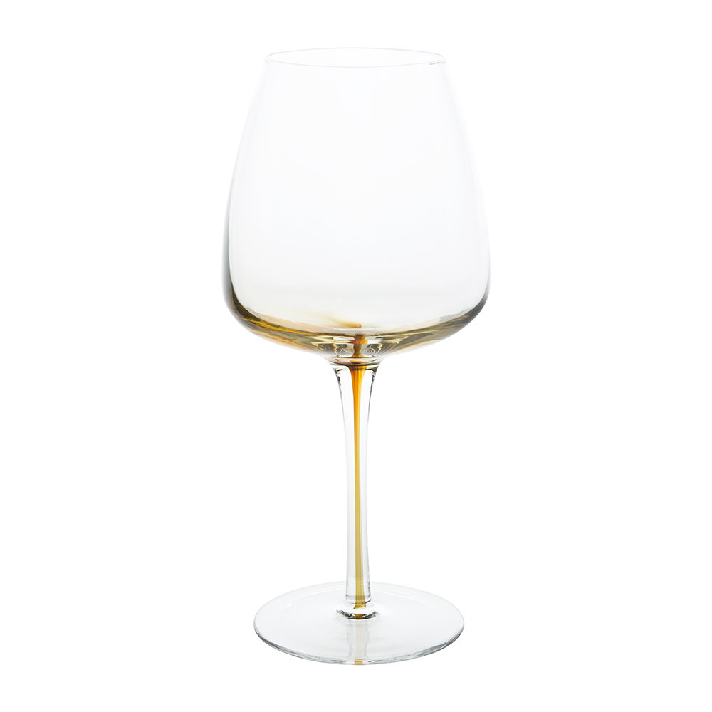 Broste Copenhagen - Amber Mouth Blown Wine Glass - Clear/Caramel - Red Wine