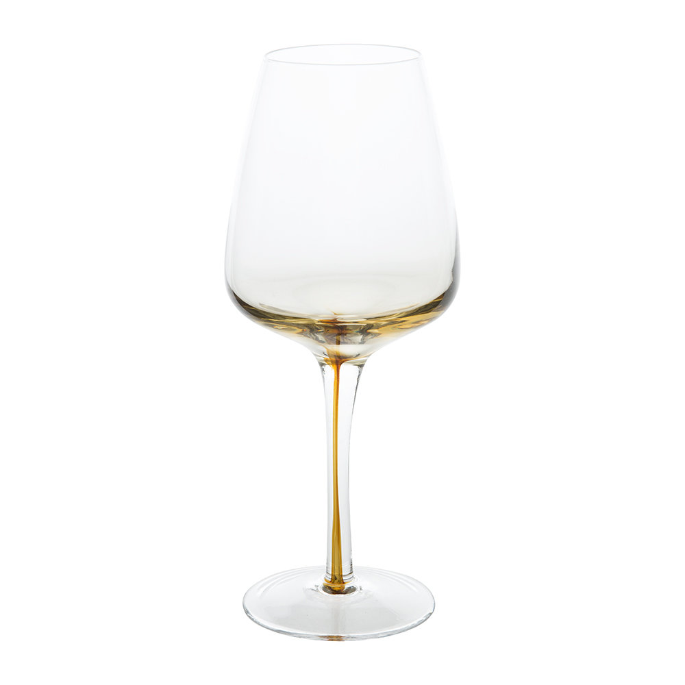 Broste Copenhagen - Amber Mouth Blown Wine Glass - Clear/Caramel - White Wine