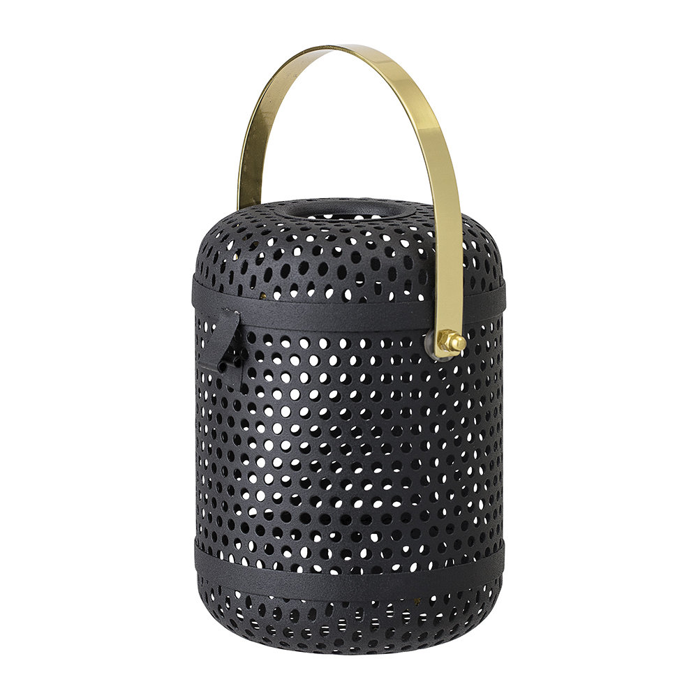 Bloomingville - Black Metal Lantern With Gold Handle